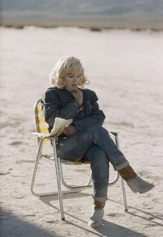 Marilyn Monroe, denim with cowboy boots, via Denimhunters