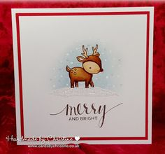 Handmade by Christine: Merry and Bright. Image - Lawn Fawn Toboggan Together Sentiment - MFT Hand Lettered Holiday Sentiments Colouring - Copics UniPosca Pen for snow Glitter and Stickles Christmas Cards To Make, Xmas Cards, Christmas Deer, Holiday Cards, Christmas Crafts, Scrapbooking, Scrapbook Cards, Card Making Inspiration, Making Ideas