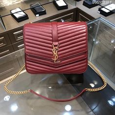 Ysl Saint Laurent woman sulpice medium woman chain flap bag red 97f20b52c5d