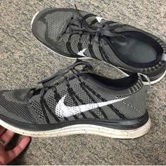 Nike grey fly knit Worn three to four times. In EUC. Size 9. Fits wide or narrow. :) Nike Shoes Athletic Shoes