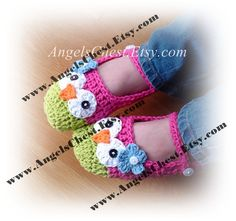 PDF Crochet Pattern Owl Mary Janes Slippers Sizes por AngelsChest