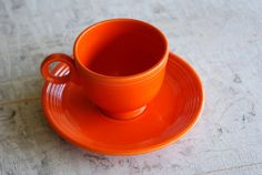 Vintage Homer Laughlin Company Red Fiesta Tea Coffee Cup and Saucer by WisdomLane, $20.00