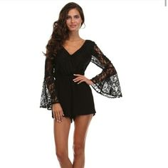 Black Lace Romper Pretty Romper and Stylish with Lace and Belle Sleeves. Tea n Cup Other