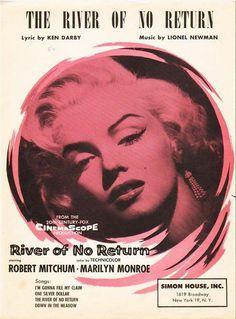 """The River Of No Return"" - Marilyn Monroe. Original vintage sheet music, USA, 1954."