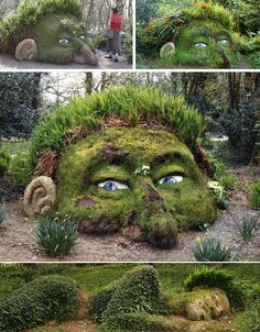 The Mud Man and Moss Maiden in the Lost Gardenos of Heligan, UK    #Gardens #Moss #UK