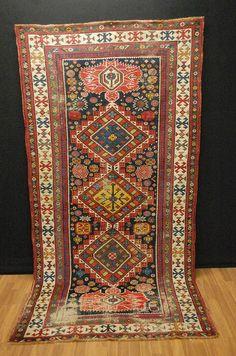 ANtique KASAK KAZAK  CAUCASIA   250x128cm wool on wool  COLLEKTORPIECE!!! | eBay