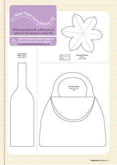 FREE papercraft wine bottle, purse and flower templates! | Papercraft inspirations