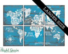 Monde carte grande œuvre d'art peinture sur des par RightGrain