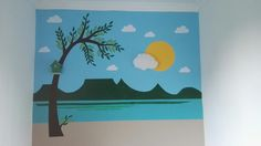 Kids room wall art. Scene of lake Balaton. Ikea hack: wall lamp. Bird house lamp. DIY.