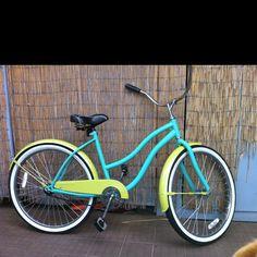 Aqua and lime beach cruiser bike