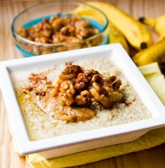 Vegan sticky banana bread quinoa breakfast bowl. I'd sub almond coconut milk for the soy here, but it looks delicious <3