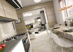 Rekonstrukce panelového bytu 3+1 Conference Room, Sweet Home, Dining Table, Cabinet, Architecture, Storage, Kitchen, House, Inspiration