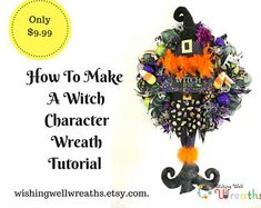 Fall Wreaths Halloween Wreaths Wreaths For by WishingWellWreaths Dog Wreath, Witch Wreath, Diy Craft Projects, Diy Crafts, Witch Characters, Witch Legs, Deco Mesh Wreaths, Fall Wreaths, Lucky Day