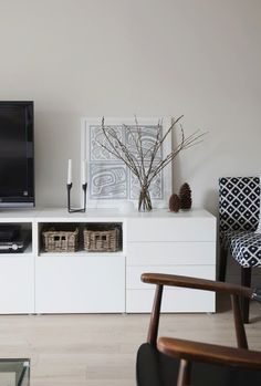 IKEA Besta unit with drawers and door. I love IKEA, all of their pieces are clean, stylish, and contemporary. Living Room Tv, Home And Living, Dining Room, Living Room Inspiration, Interior Inspiration, White Sideboard, Muebles Living, Decor Room, Home Decor