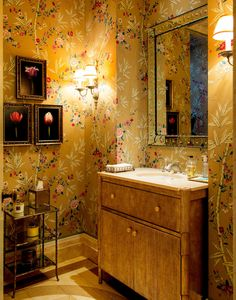 Wallpaper is 'Bamboo Grove Tea Paper- Coral on Gold' (discontinued) by Brunschwig & Fils at GP & J Baker.