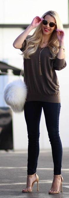 White Faux Fur Shoulder Bag