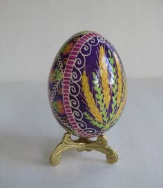 Pysanka, batik egg on chicken egg shell, Ukrainian Easter egg, hand painted egg ornament