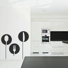 Vinilo decorativo con diseño de menaje de cocina. Masquevinilo.com