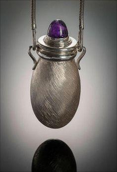 Amphora pendant.Silver, amethyst.