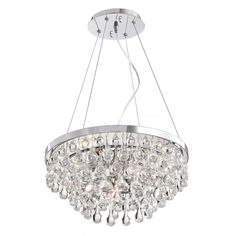 The Ofelia Chrome Finish Crystal Chandelier features a chrome finish and the base is made of iron. Chandelier requires five 60-watt candelabra bulbs inside of the glass baubles for a charming and sophisticated look.