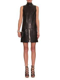 Roll-neck leather dress | Mugler | MATCHESFASHION.COM US