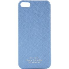 Smythson Panama iPhone® 5 Case (200 CAD) ❤ liked on Polyvore featuring accessories, tech accessories, phones, phone cases, electronics, blue and smythson