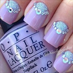 Purple Background with Silver Glitter Bear Accent Nails .
