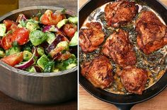 Next up, get out the cast iron skillet, and serve up some flavor! This chicken thigh dish is packed with flavors and sure to delight all your guests. | Here's A Three Course Meal That Is Perfect For Dinner Any Night This Week