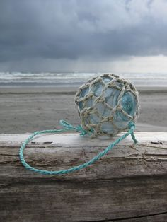 Japanese Glass Fishing Float - Original Net, Baseball Size