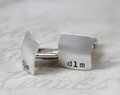 Square Cufflinks, All Sterling Silver Cufflinks    2 hand stamped & brushed square cufflinks with initials