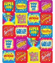 "#CDWish13 Positive Words stickers are a small, fun way to brighten a student&#8217s day. Perfect for reward or recognition, these 1"" x 1"" motivational stickers come 120 per pack and are acid free and lignin free!"