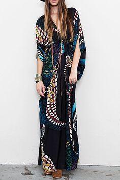 Velvet Geometric Print Long Sleeves Plunging Neck Maxi Dress