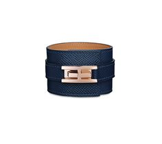 "Drag Hermes cuff bracelet in Epsom calfskin, rose gold plated hardware circumference up to 6.1"" Color : sapphire blue"