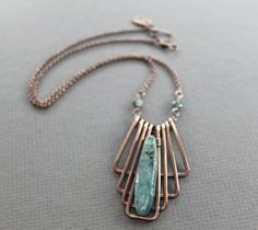 Egyptian style geometrical copper necklace with organic kyanite long stone – Statement necklace – Kyanite necklace – Dagger necklace – - DIY Schmuck Wire Jewelry Designs, Copper Wire Jewelry, Sea Glass Jewelry, Wire Wrapped Jewelry, Sterling Silver Jewelry, Diy Jewelry, Beaded Jewelry, Handmade Jewelry, Jewelry Making