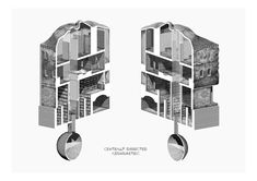 a dissected axonometric of a book shop with living quarters, atrium and collection well architectural-review