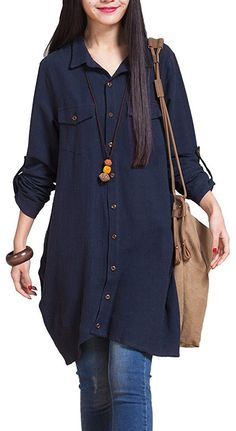 iRachel Womens Long Sleeve Irregular Shirt Dress Casual Loose Blouse Tops * Details can be found by clicking on the image. Hijab Fashion, Fashion Outfits, Mode Plus, Kurta Designs, Blouse Designs, Indian Designer Outfits, Mode Inspiration, Casual Dresses, Casual Wear