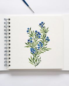 t's blu - aquarelle - Watercolor Cards, Watercolor Flowers, Painting Flowers, Watercolor Journal, Drawing Flowers, Watercolour Painting, Painting & Drawing, Watercolors, Watercolor Portraits