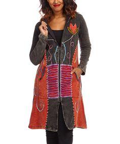 Look at this #zulilyfind! Black & Red Floral Patchwork Long Jacket by Rising International #zulilyfinds