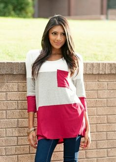 colorblock tunic in red and gray with 3/4 sleeves #bellaellaboutique