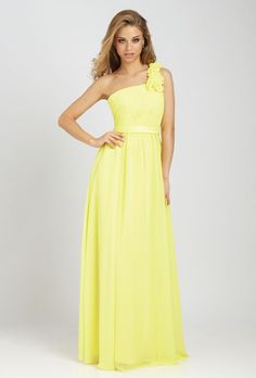 Brides.com: Citrus Bridesmaid Dresses. Style 1279, long yellow chiffon gown, $198, Allure Bridals  See more Allure Bridals bridesmaid dresses.