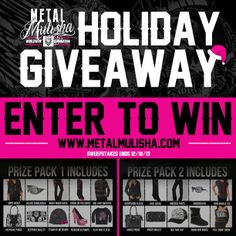 Merry Mulisha Christmas! We are hooking our Metal Mulisha fans up with a HUGE GIVEAWAY just in time for the holidays! ENTER NOW for your chance to WIN the Metal Mulisha Maidens Holiday Prize Pack of your choice! http://www.metalmulisha.com/blog/maidens-holiday-sweepstakes/