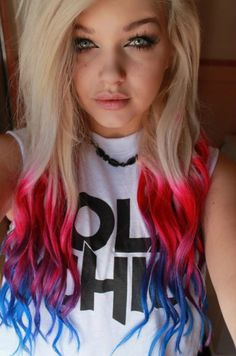 Different Ways To Dye Bleached Hair Colorful hair red and blue tips colored hair blonde red tips blue tips Dip Dye Hair, Dye My Hair, New Hair, Dip Dyed, Blonde Hair With Blue Tips, Blonde Curly Hair, Blue And Red Hair, White Hair, Blonde Pink