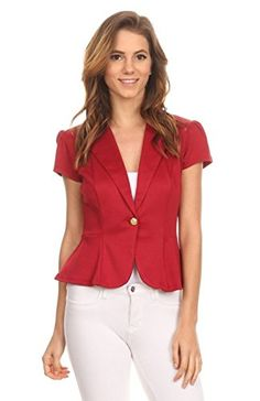 2LUV Womens Short Sleeve Fitted Blazer With Button Closure Red S J108 SD DRD >>> Be sure to check out this awesome product.