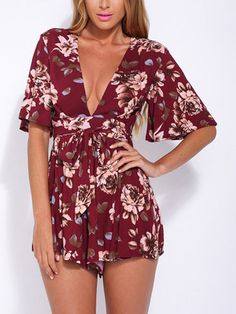 If you are finding sexy floral bodysuits, then this one can be considered firstly. Featuring deep v neck, half sleeves, high waist, zipper design, high waist and floral print, the bodysuits can fit to go to the beach and casual party.
