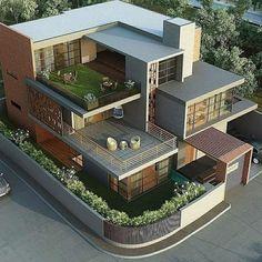 Modern Exterior House Designs, Best Modern House Design, Modern House Facades, Duplex House Design, Simple House Design, House Front Design, Dream House Exterior, Modern Architecture House, Modern Design