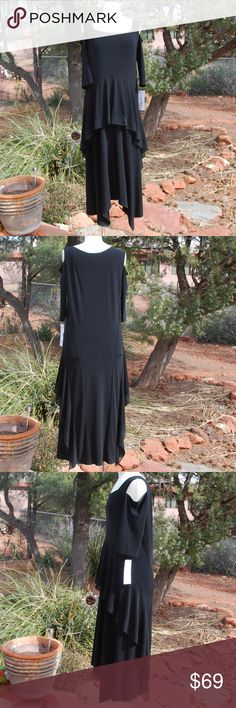 d2169405 NWT Joseph Ribkoff Black Open Shoulder Dress 14 L New With the Tags  Attached, Joseph