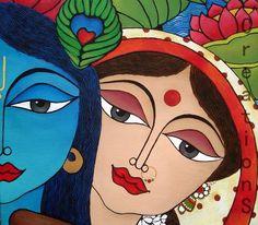 Radha And Krishna Paper Art Wallpaper Madhubani Art, Madhubani Painting, Krishna Painting, Krishna Art, Radhe Krishna, Lord Krishna, Art Premier, Indian Folk Art, India Art