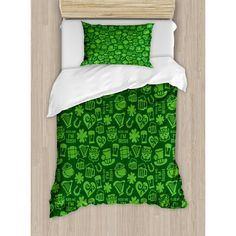 Ambesonne Kiss Me I'm Irish Humorous Phrase with Ale Shamrocks Hats Traditional Symbols Lime Duvet Set Size: