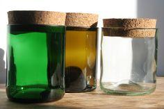 """Aufbewahrungsgläser """"klein"""" aus Weinflaschen mit Korkverschluß. #upcycling"""