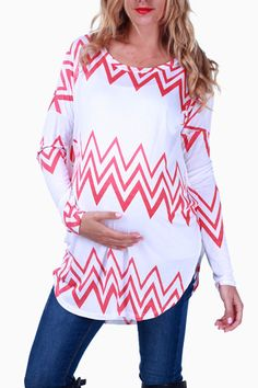 White Pink Chevron Long Sleeve Maternity Top #maternity #fashion